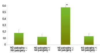 Výskyt patogénov v nosovej dutine versus v nosohltane.