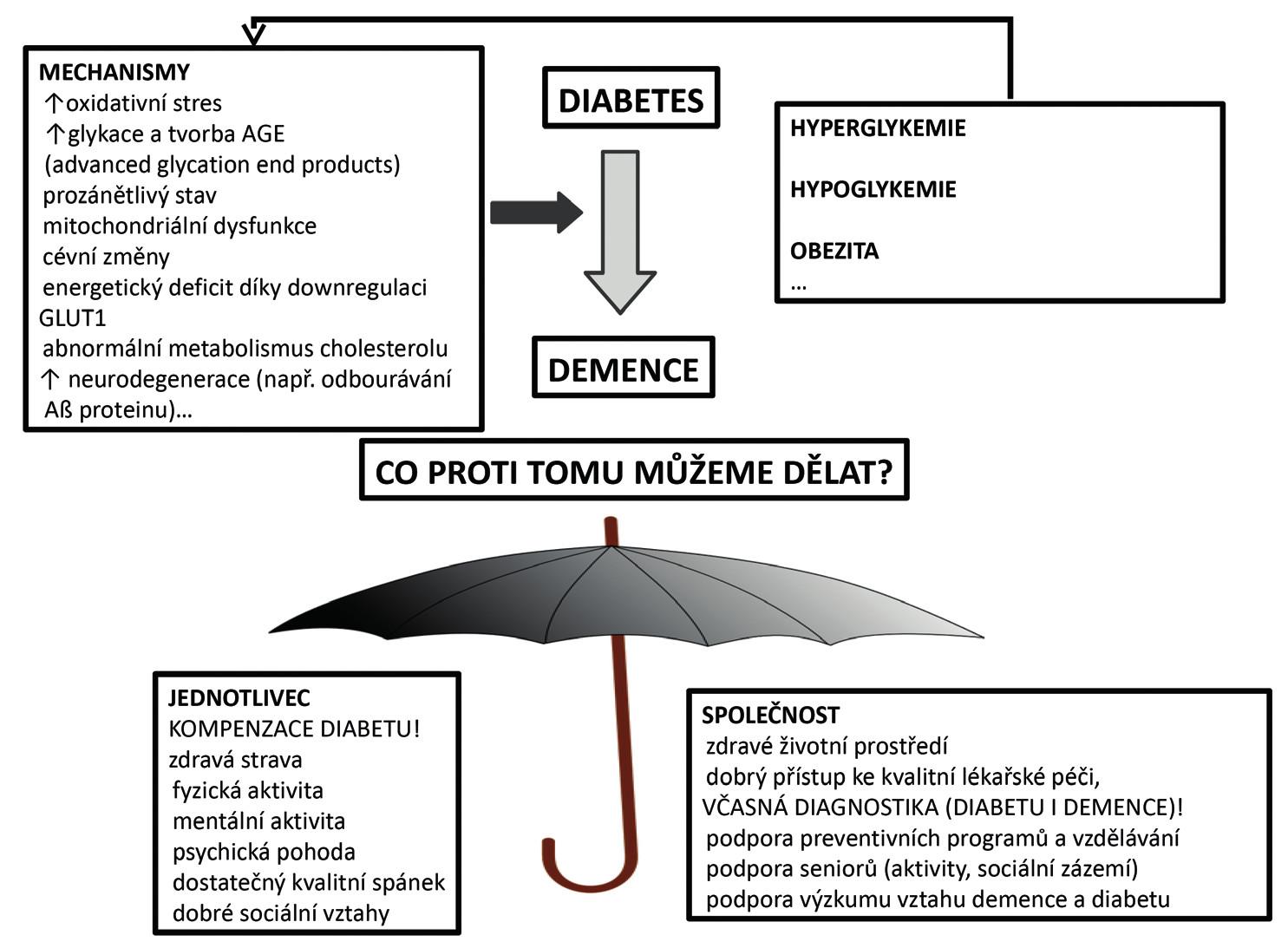Mechanismy podporující vznik demence u pacienta s diabetem a možnosti, jak se jí bránit