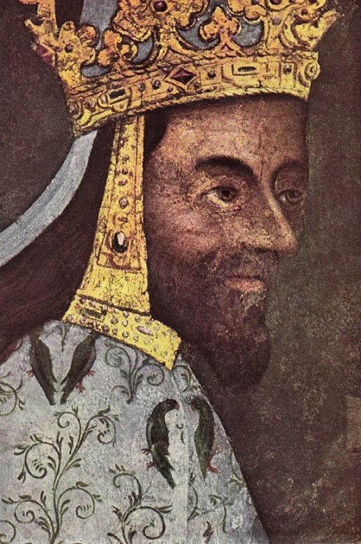 Obr. 3b Císař Karel IV. Uchýlení nosu do levé strany. Detail z první ostatkové scény na Karlštejně.