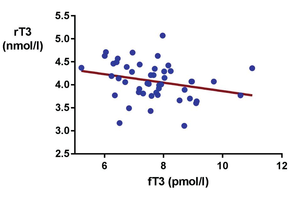 Korelácia medzi fT3 a rT3 (r = -0,288; p <0,05) u obéznych detí.