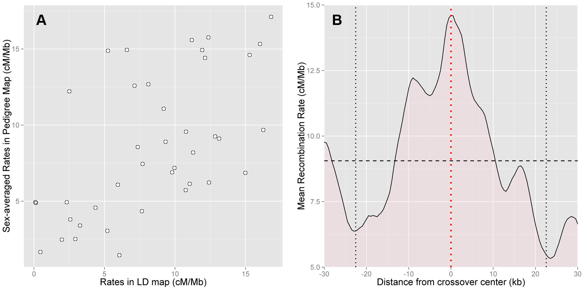 Concordance between pedigree-based and HapMap2 population-averaged LD-based estimates of recombination.