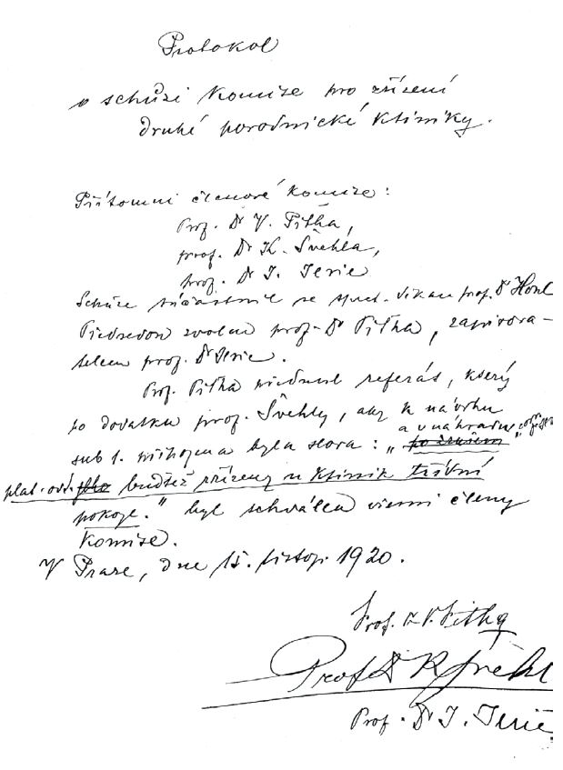Protokol komise k založení II. porodnické kliniky ze dne 15. listopadu 1920