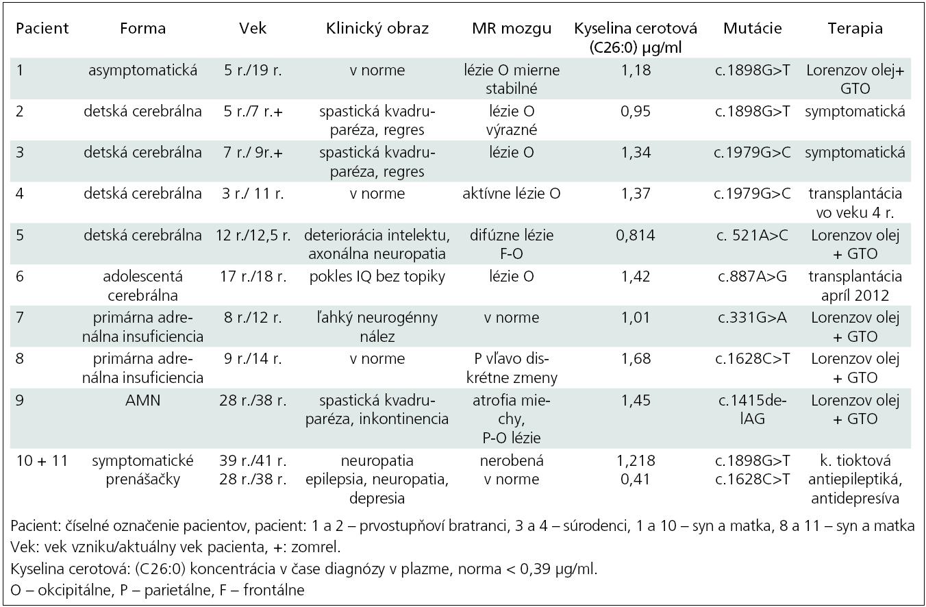 Prehľad slovenských pacientov v rokoch 1998–2011.