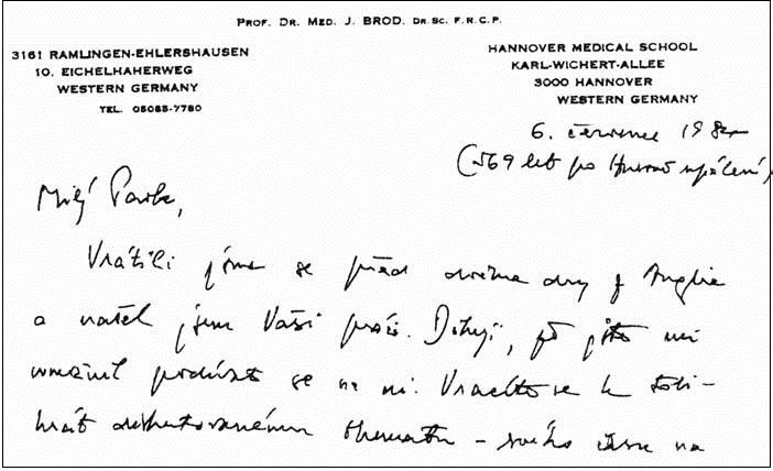 Začátek dopisu prof. Broda s upřesněním data 6. července 1984 (569 po Husově upálení).