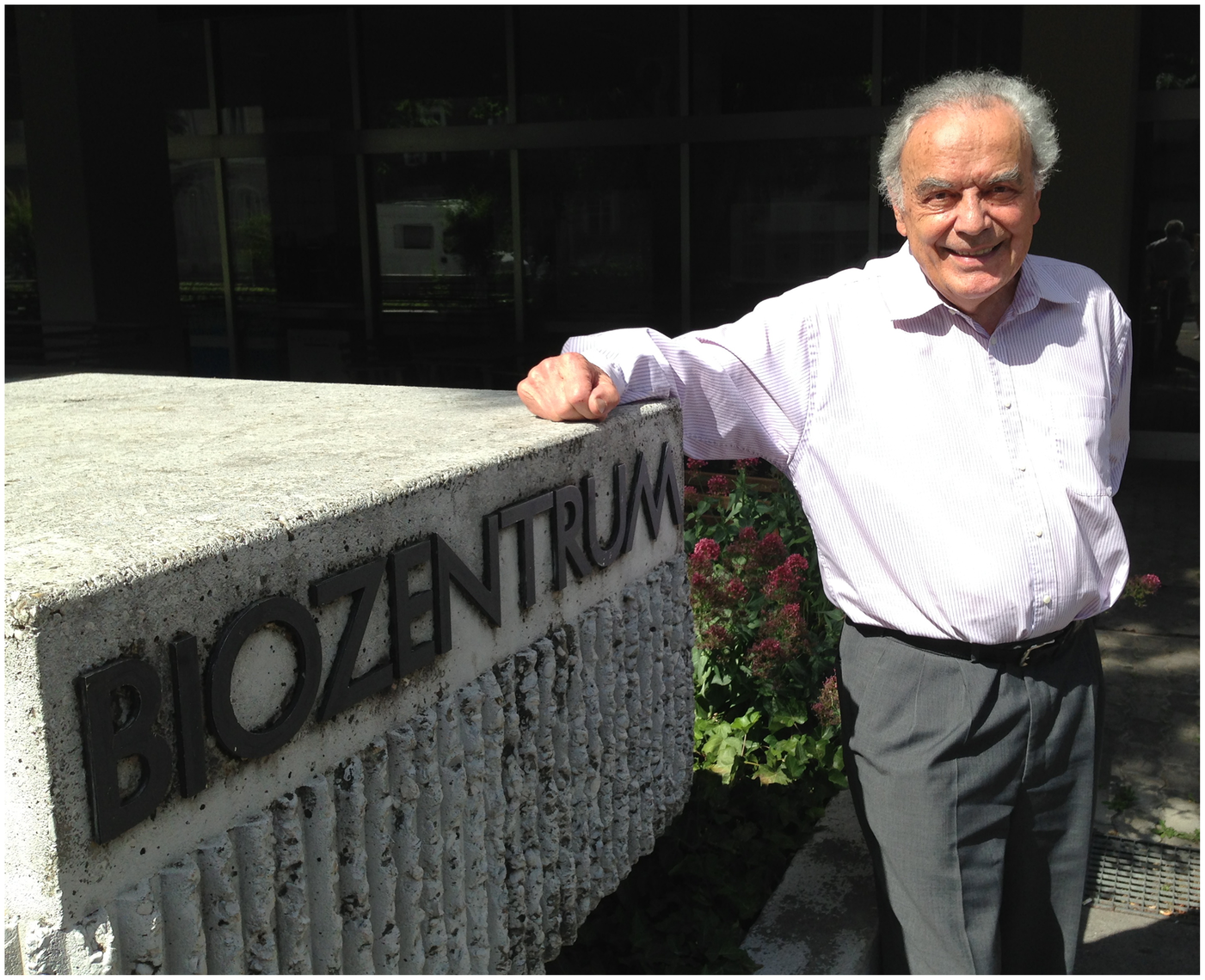 Werner Arber stands outside the Biozentrum at the University of Basel, Switzerland.
