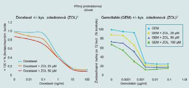 Kyselina zoledronová potencuje cytotoxické účinky protinádorové terapie u karcinomu prostaty.
