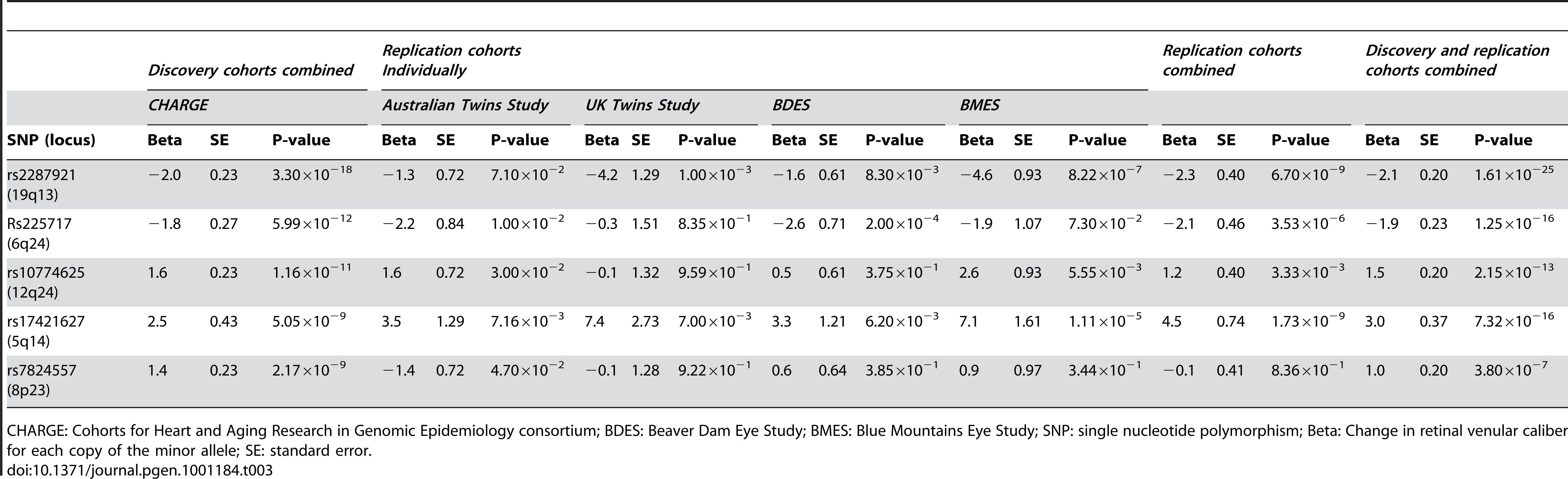 Results for the five loci associated with retinal venular caliber for the discovery, replication, and combined cohorts.