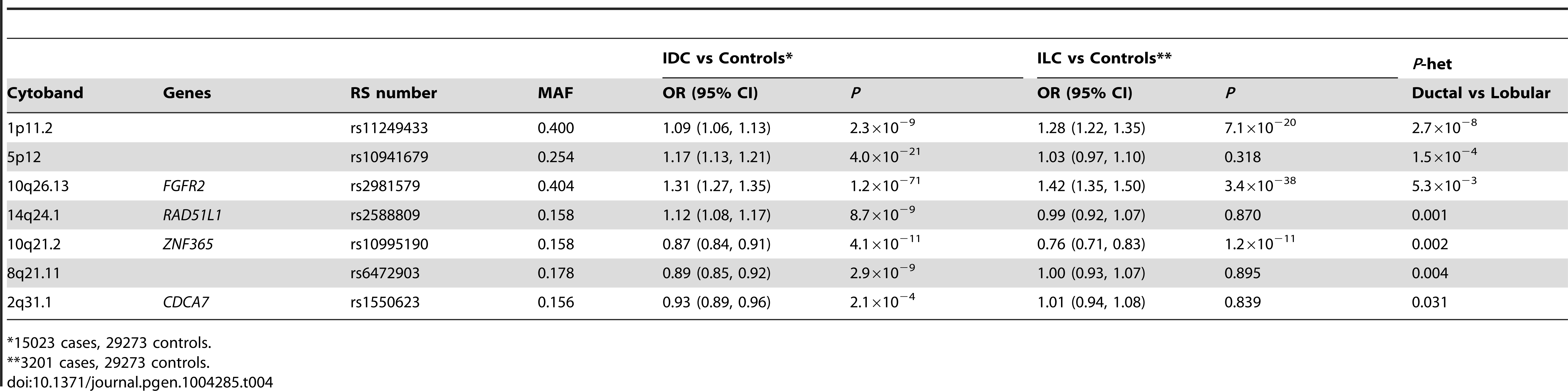 SNPs showing differential lobular and ductal associations with breast cancer risk in BCAC subjects (ER+ tumours only).