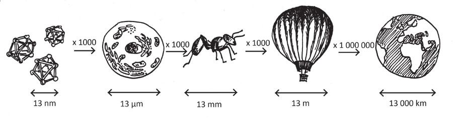 """Srovnání rozměru nanočástice s jinými objekty – jak """"velké"""" je nano?"""
