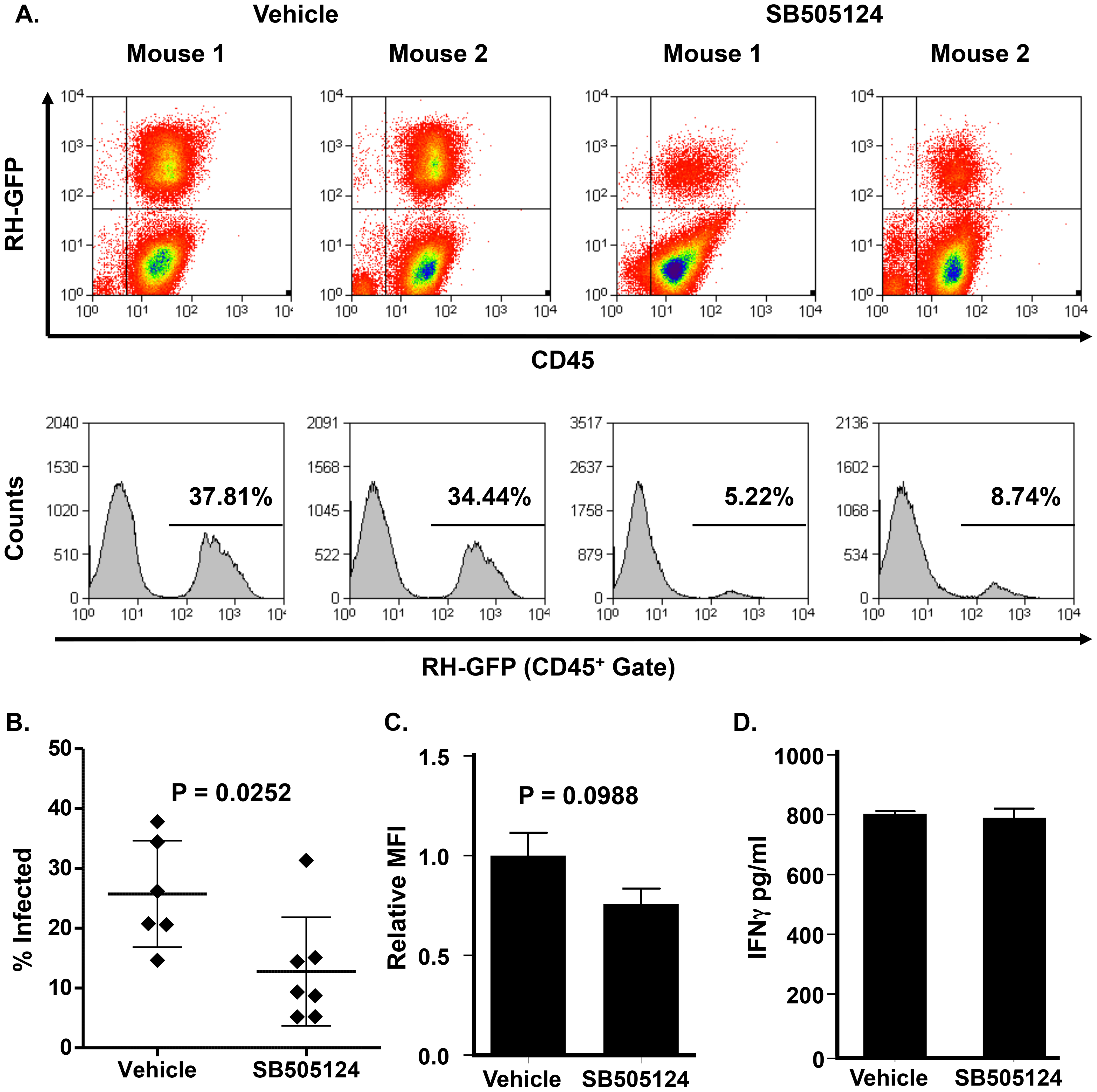 SB505124 reduces parasite growth in <i>Toxoplasma</i>-infected mice.