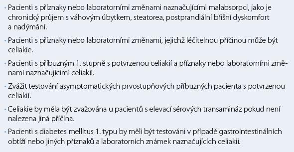Doporučené indikace k testování celiakie [13].