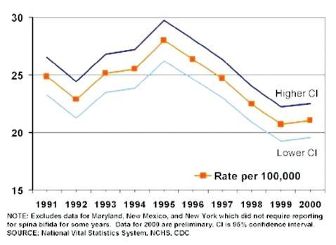 Výskyt spina bifida v USA, roky 1991–2000. Pokles v rokoch 1995–1998 je dosiahnutý preventívnymi opatreniami, bližšie v texte. Prevzaté z NCHS, USA, 2002. Fig. 2. Prevalence rates of spina bifida in the United States of America, 1991–2000. The 1995-1998 rates decline resulted from preventive measures, as specified in the text. Adopted from NCHS, USA, 2002