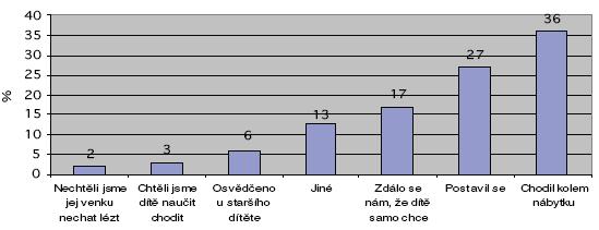 Znázornění důvodů, proč matky děti za ruce vodily. Bylo možné označit více možností. Uvedeno v % (n=202=100%).