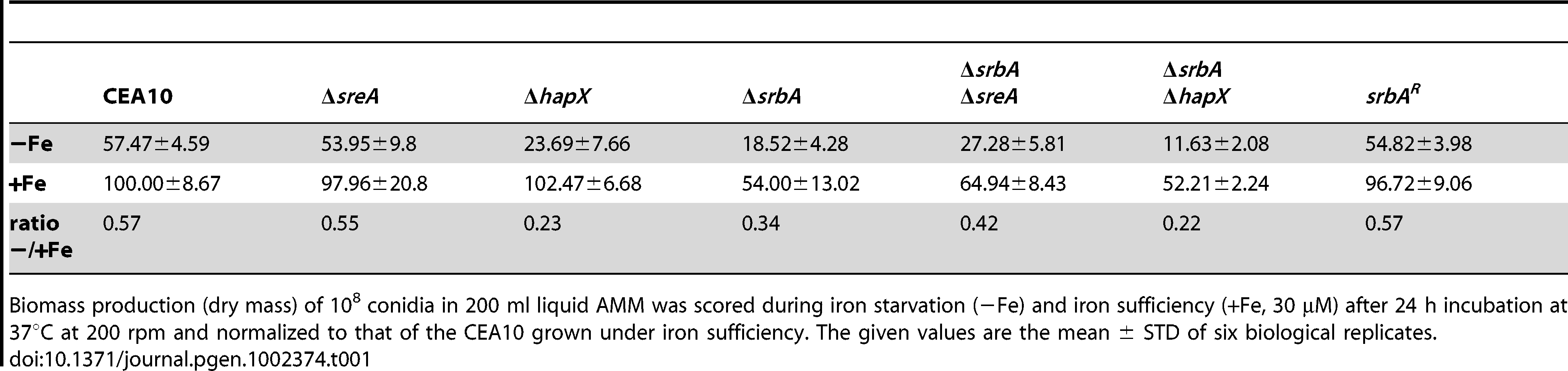 SrbA-deficiency impairs submersed biomass production in particular during iron starvation.