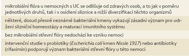 Význam mikrobiální střevní flóry v etiologii UC. Tab. 2. Role of intestinal microbionta in aetiology of UC.