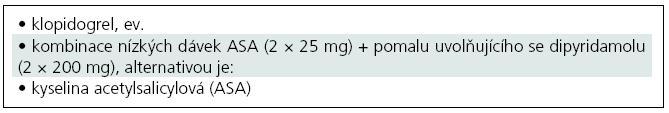Současné možnosti farmakologické sekundární prevence u nekardioembolických iktů [18,73,101].