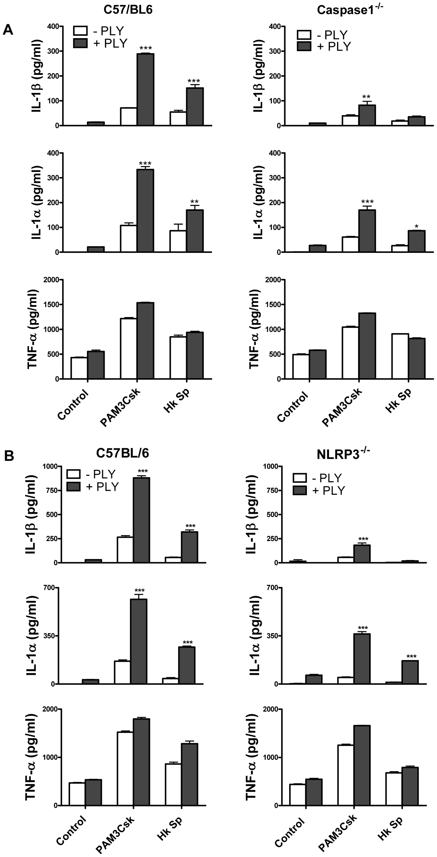 The ability of PLY to enhance IL-1β secretion by DC is caspase-1 and NLRP3-dependent.