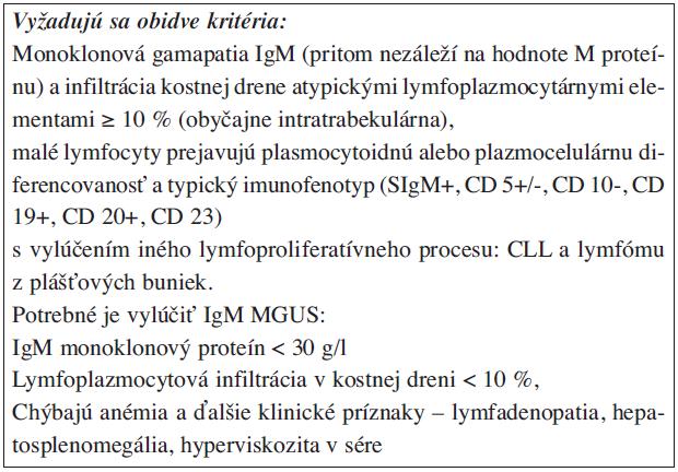 Waldenströmova makroglobulinémia.