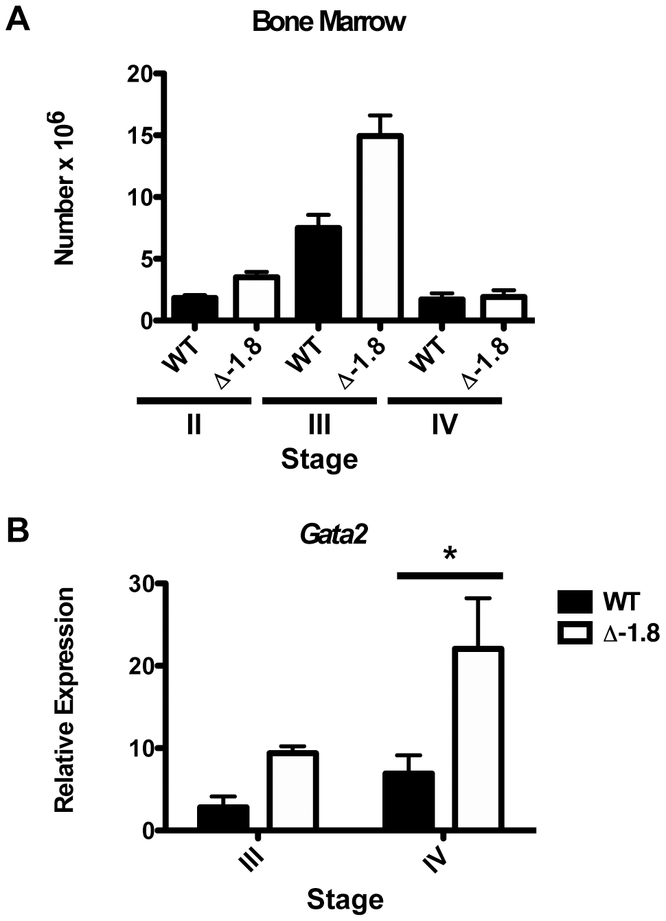 <i>Gata2</i> dysregulation during stress erythropoiesis in Δ-1.8 mice.