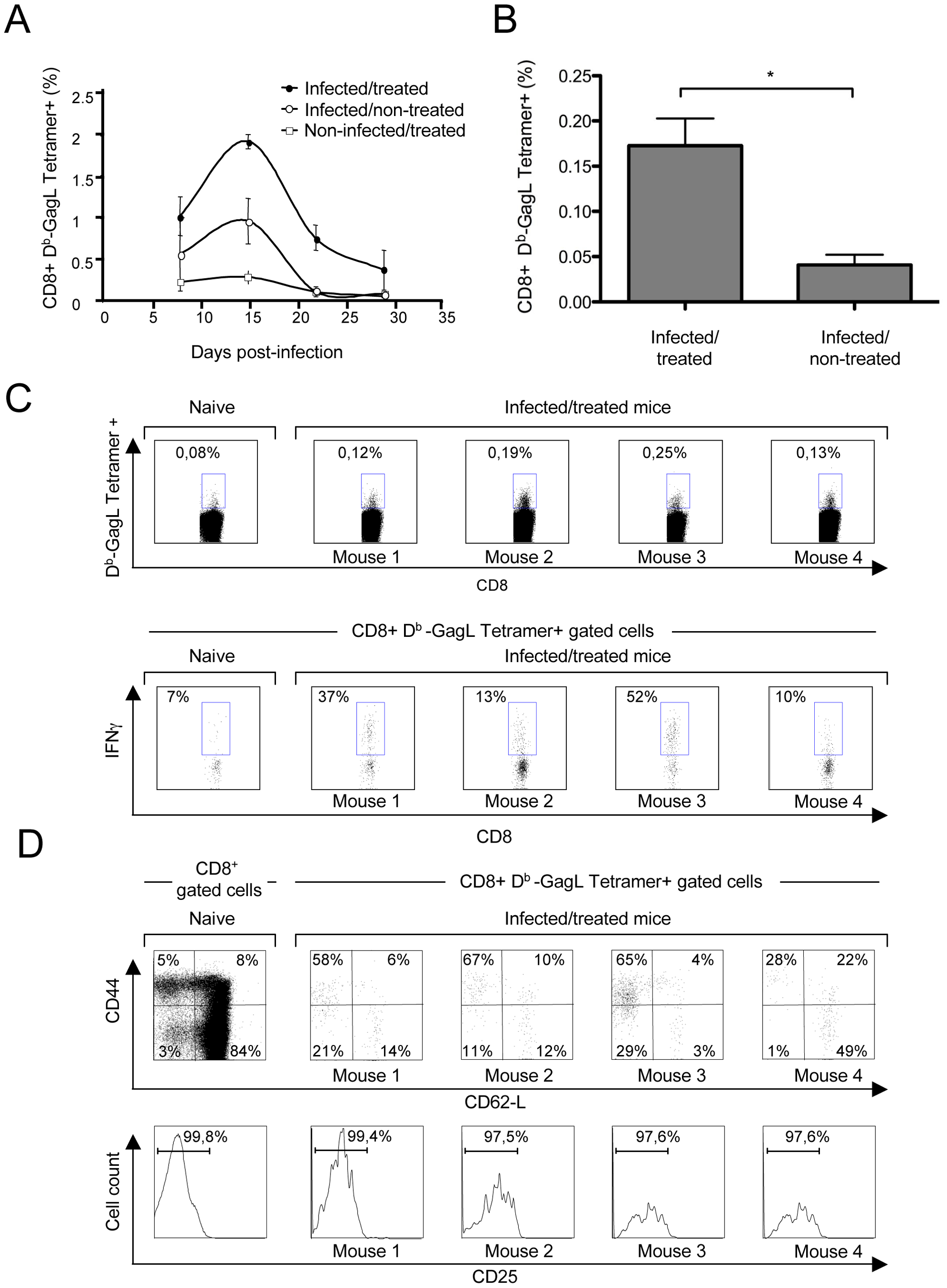 Primary CD8<sup>+</sup> T-cell responses against FrCas<sup>E</sup>-infected cells.