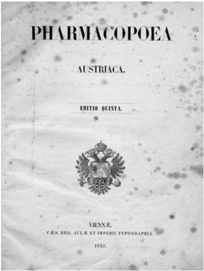 Pharmacopoea Austriaca. Editio quinta. Viennae. 1855