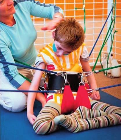 Ilustrační fotografie: posilování svalstva trupu a zad, nácvik pohybové koordinace v labilních polohách, nácvik stabilizace sedu.