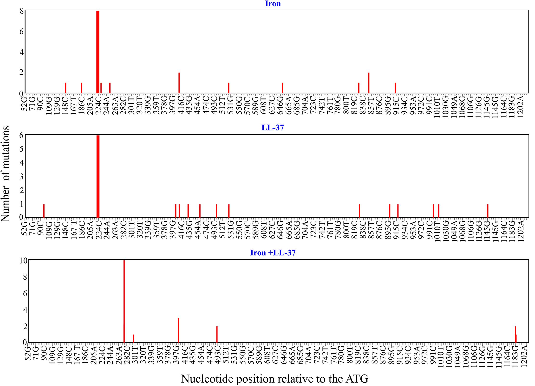 Mutation hotspots in <i>glpT</i>.