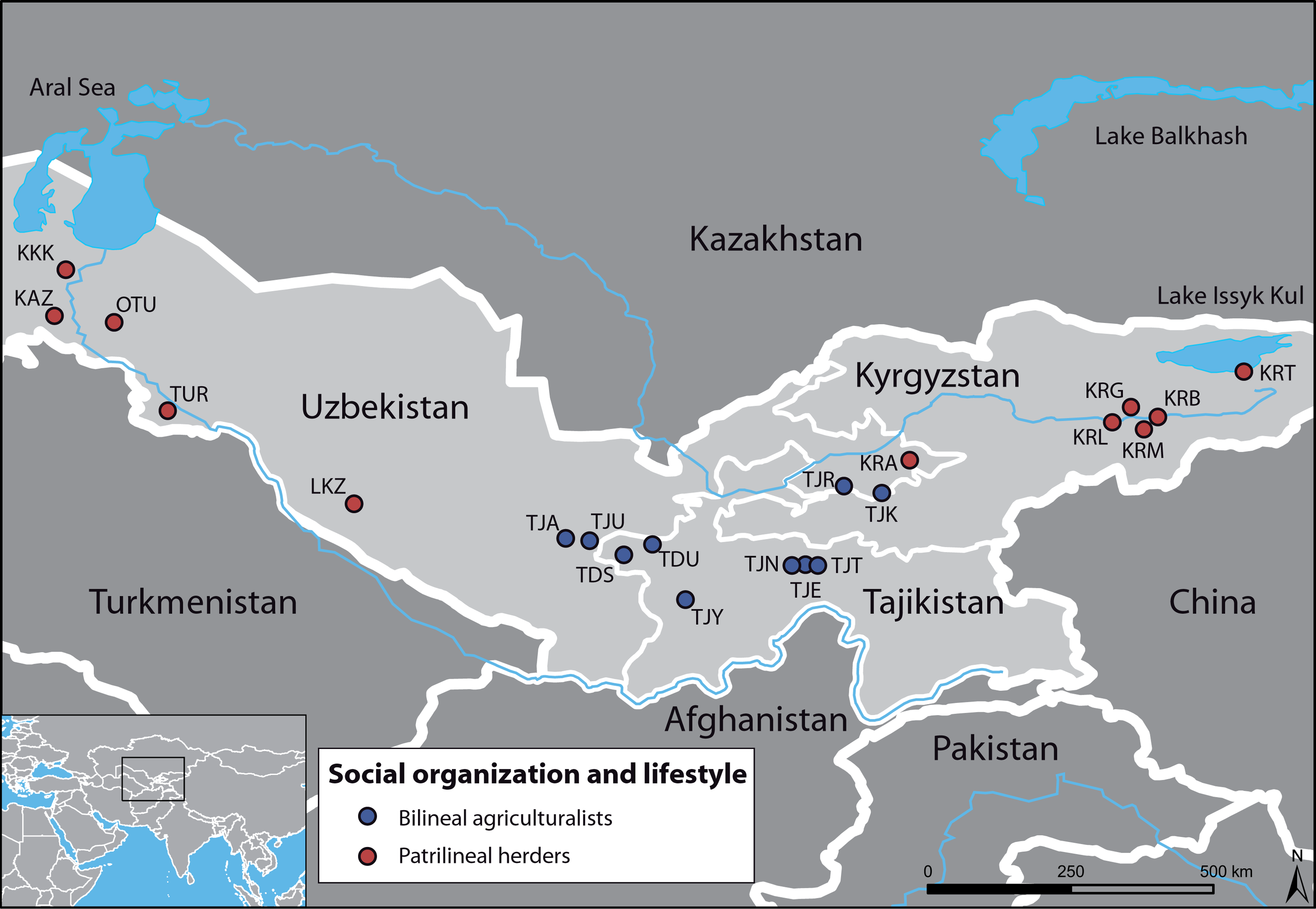 Geographic map of the sampled area, with the 21 populations studied.