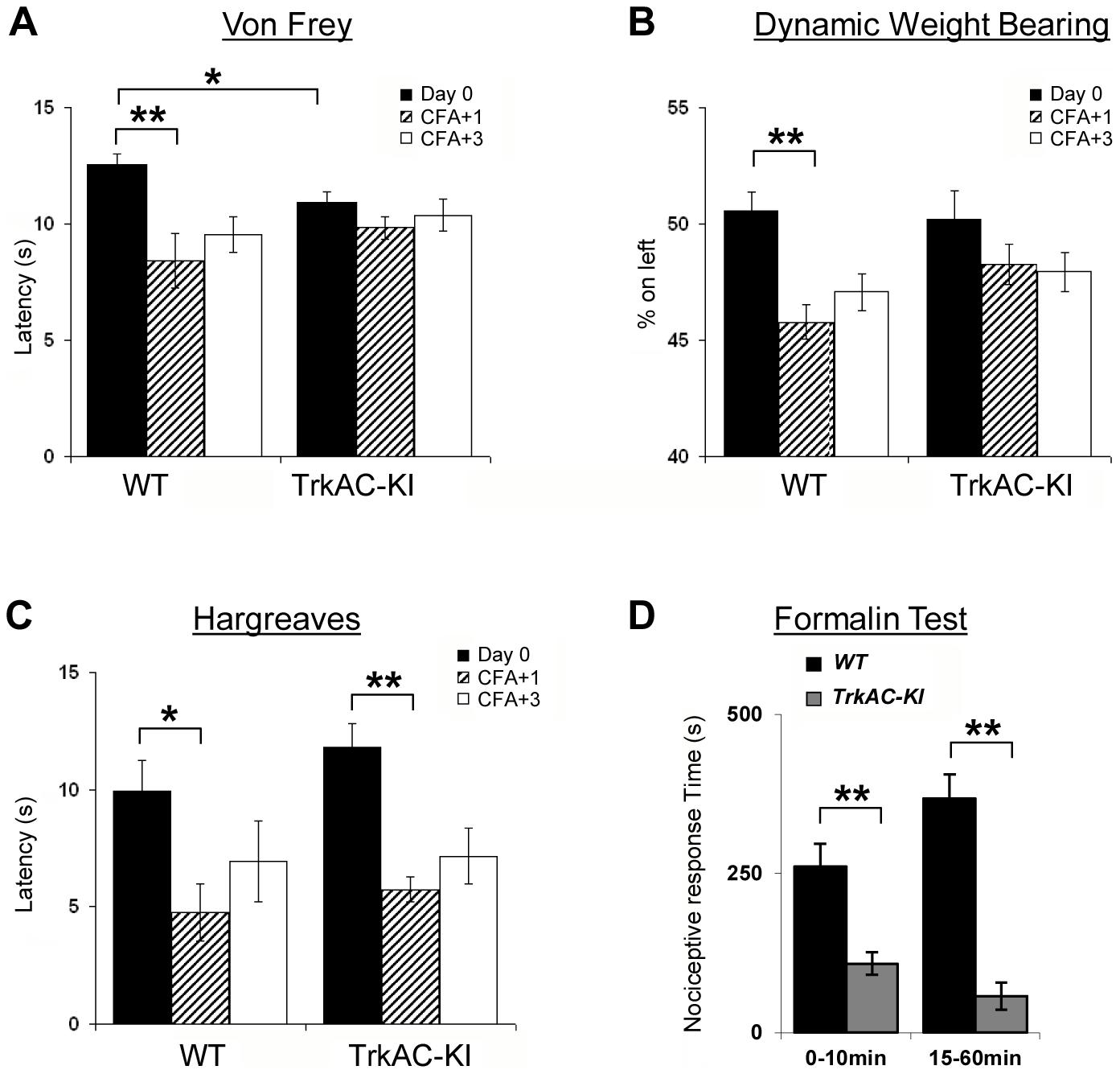 Abnormal mechanical and chemical pain response in <i>TrkAC-KI</i> mice.