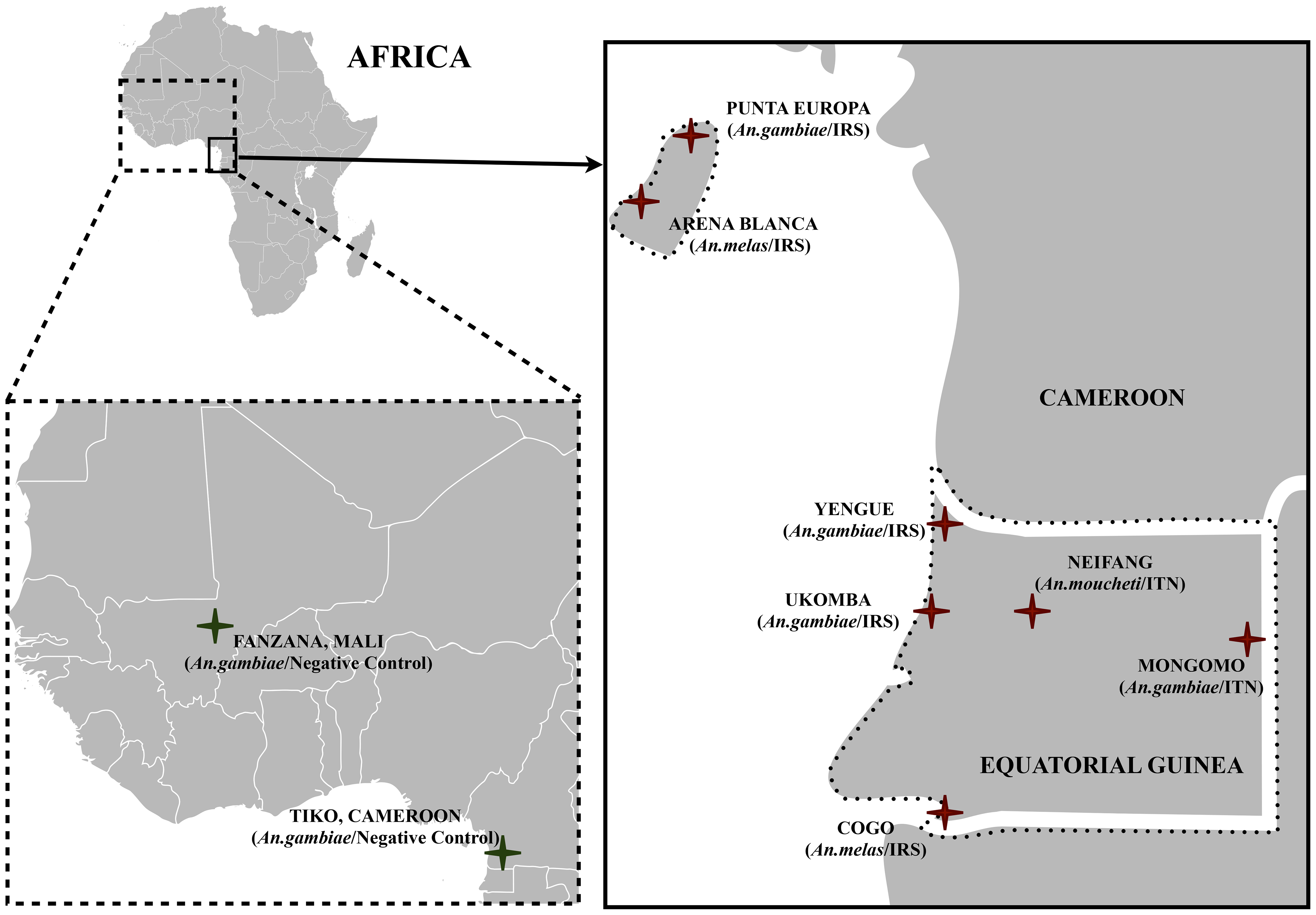 A map indicating the seven study sites in Equatorial Guinea.