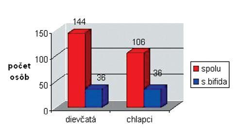 Diagram s incidenciou spina bifida v závislosti na pohlaví Graph 2. Gender-related spina bifida incidence rates
