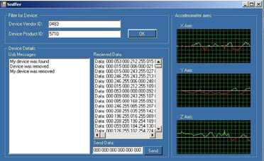Fig. 2: The screenshot of PC application for data acquisition, logging and visualization.