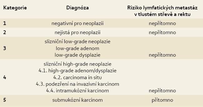 Revidovaná Vídeňská klasifikace gastrointestinálních epiteliálních neoplazií. Tab. 1. The revised Vienna classification of gastrointestinal epithelial neoplasia.