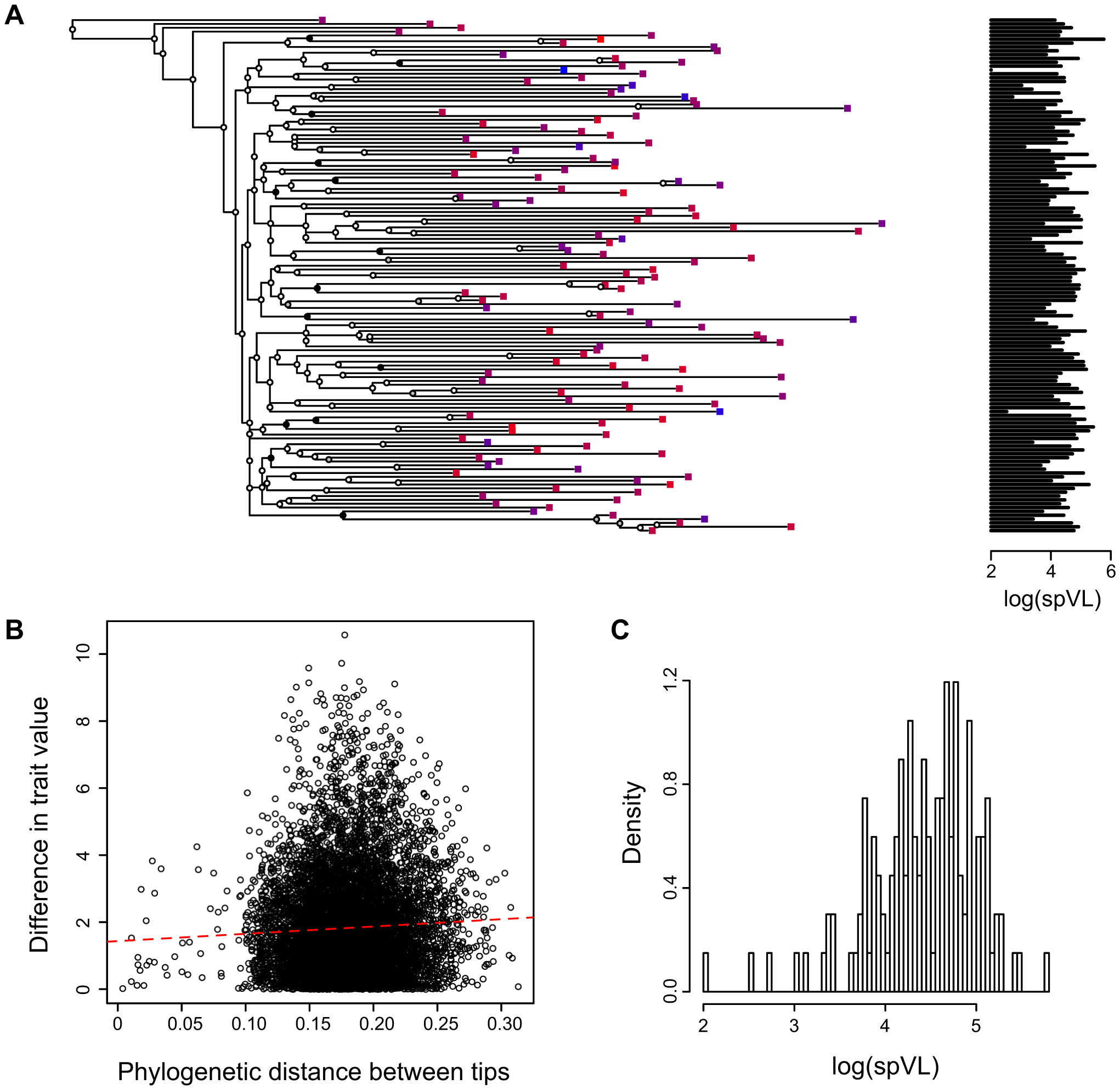 Combining phylogenies and trait values in the MSM strict dataset.