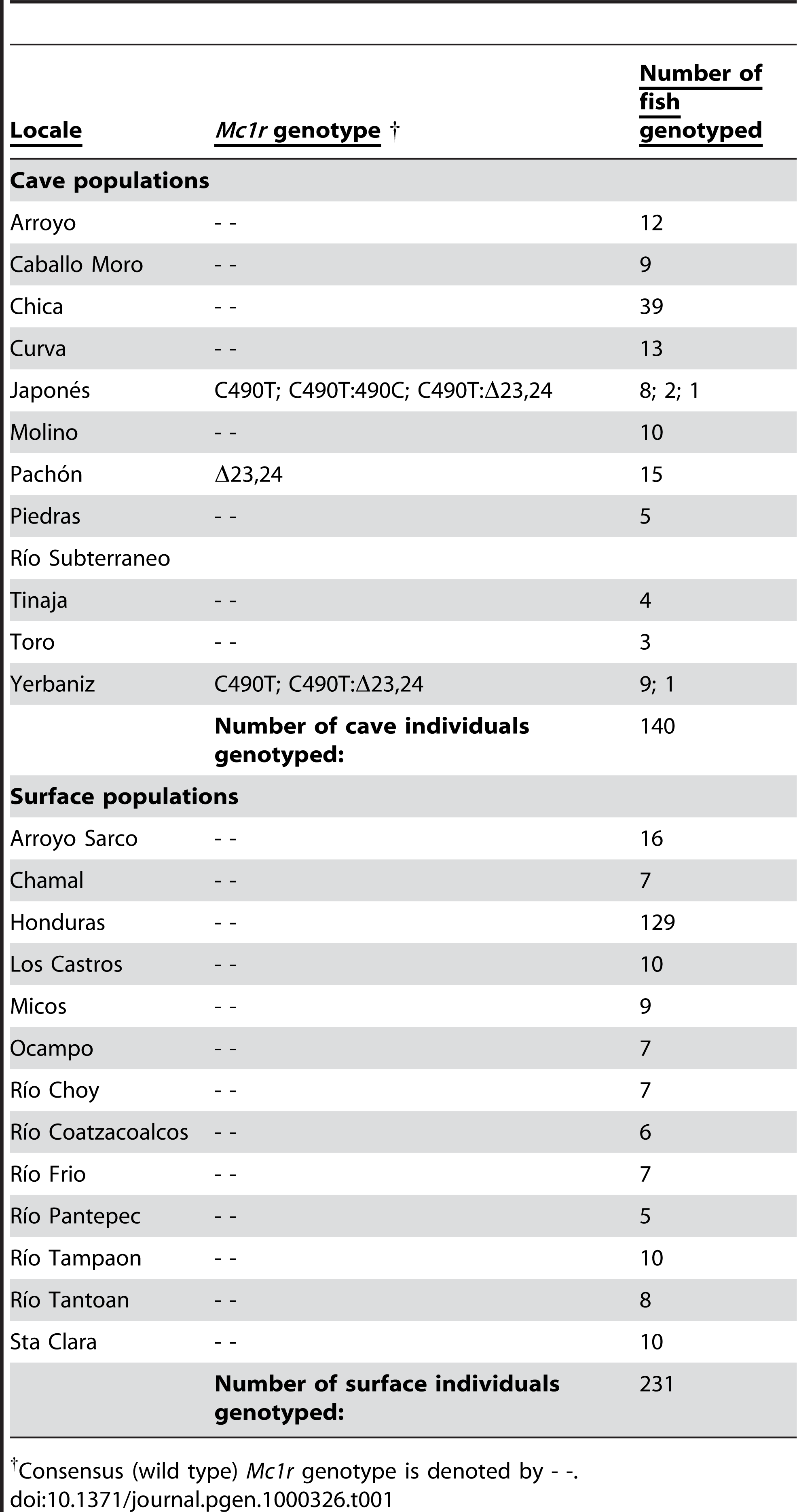 Summary of variant <i>Mc1r</i> genotypes collected from multiple cave and surface fish.