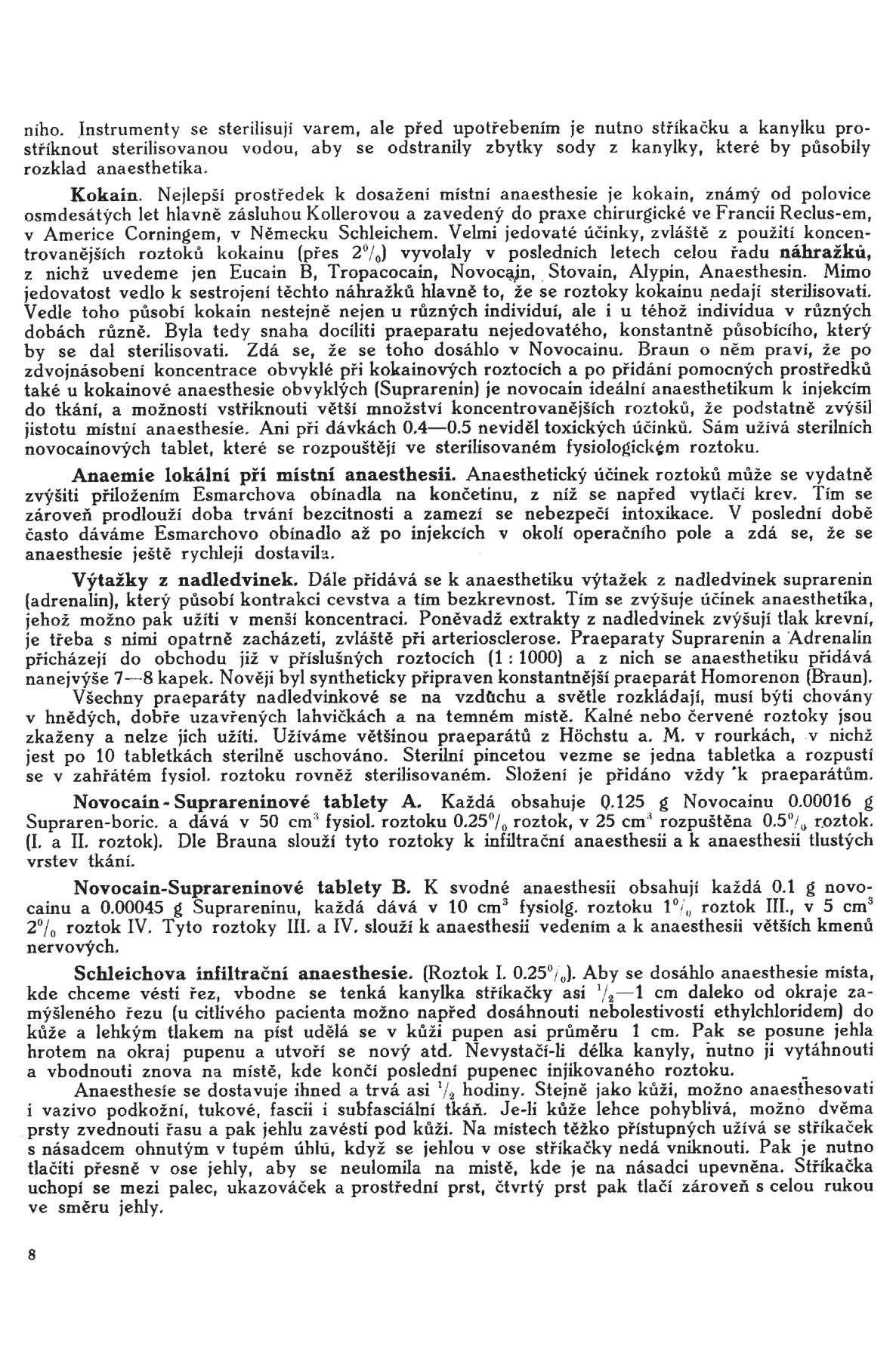 Stránka 8 z učebnice chirurgie z r. 1921