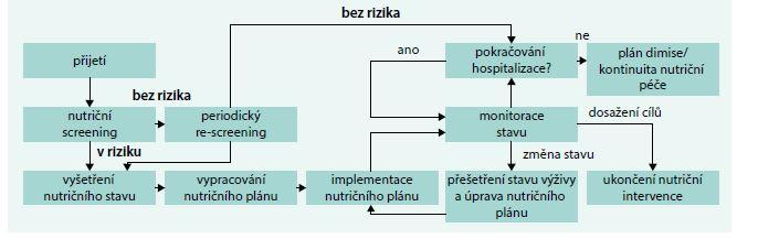 Schéma 2. Doporučovaný postup pro nutriční péči v průběhu hospitalizace. Upraveno podle [23]