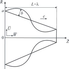 Fig. 5: Peristaltic flow in the tapered finite-length tube: problem sketch.