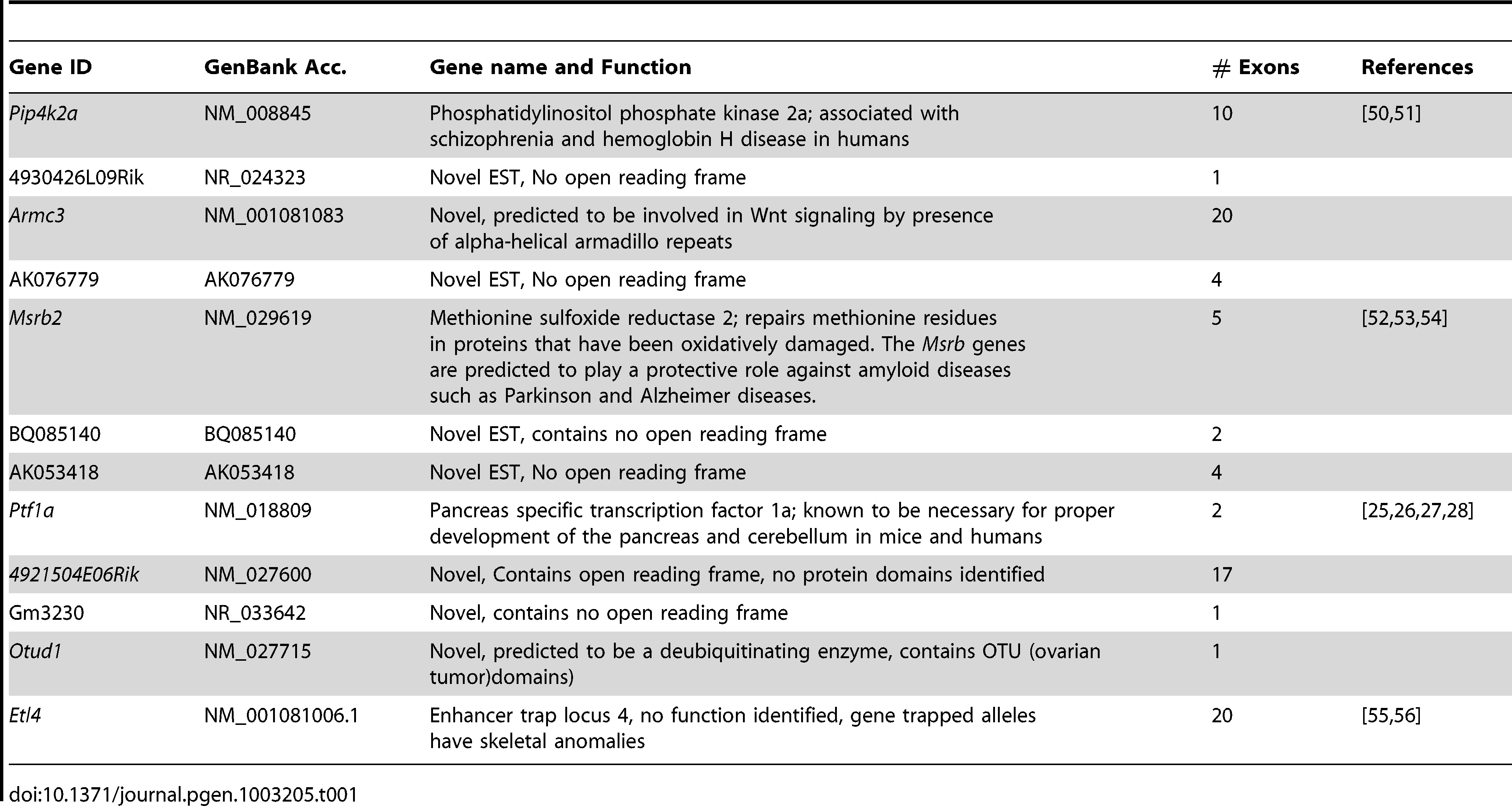 Genes and ESTs mapping to the <i>Sd</i> critical region.