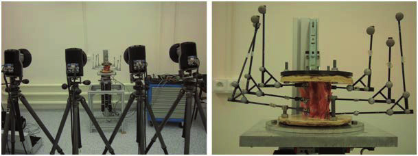 Fig. 6: The recording device on the left. The markers mounted to the sample on the right.