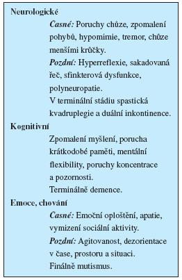 Hlavní projevy HIV encefalopatie