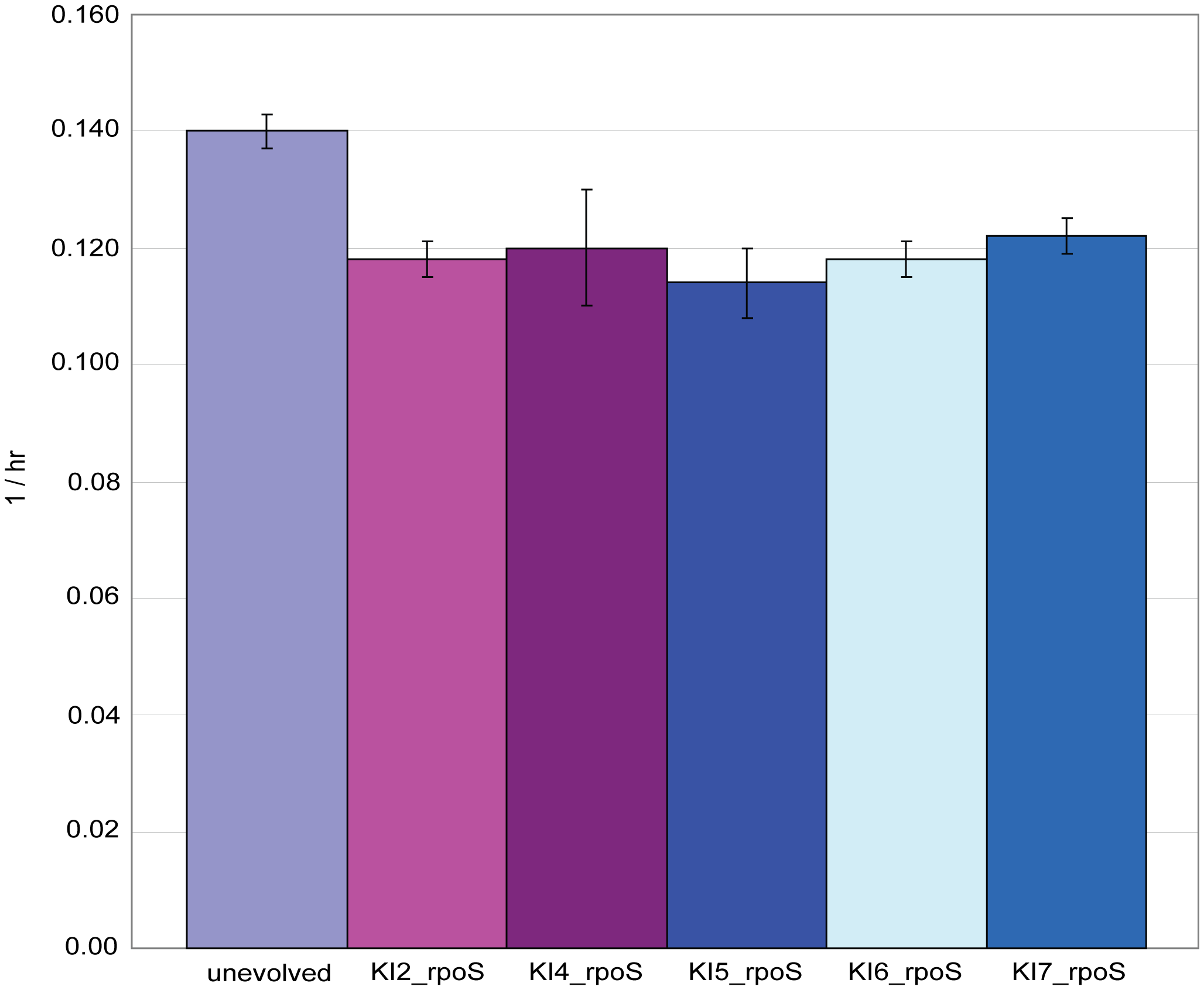 Growth rates for five <i>rpoS</i> knock-in strains.