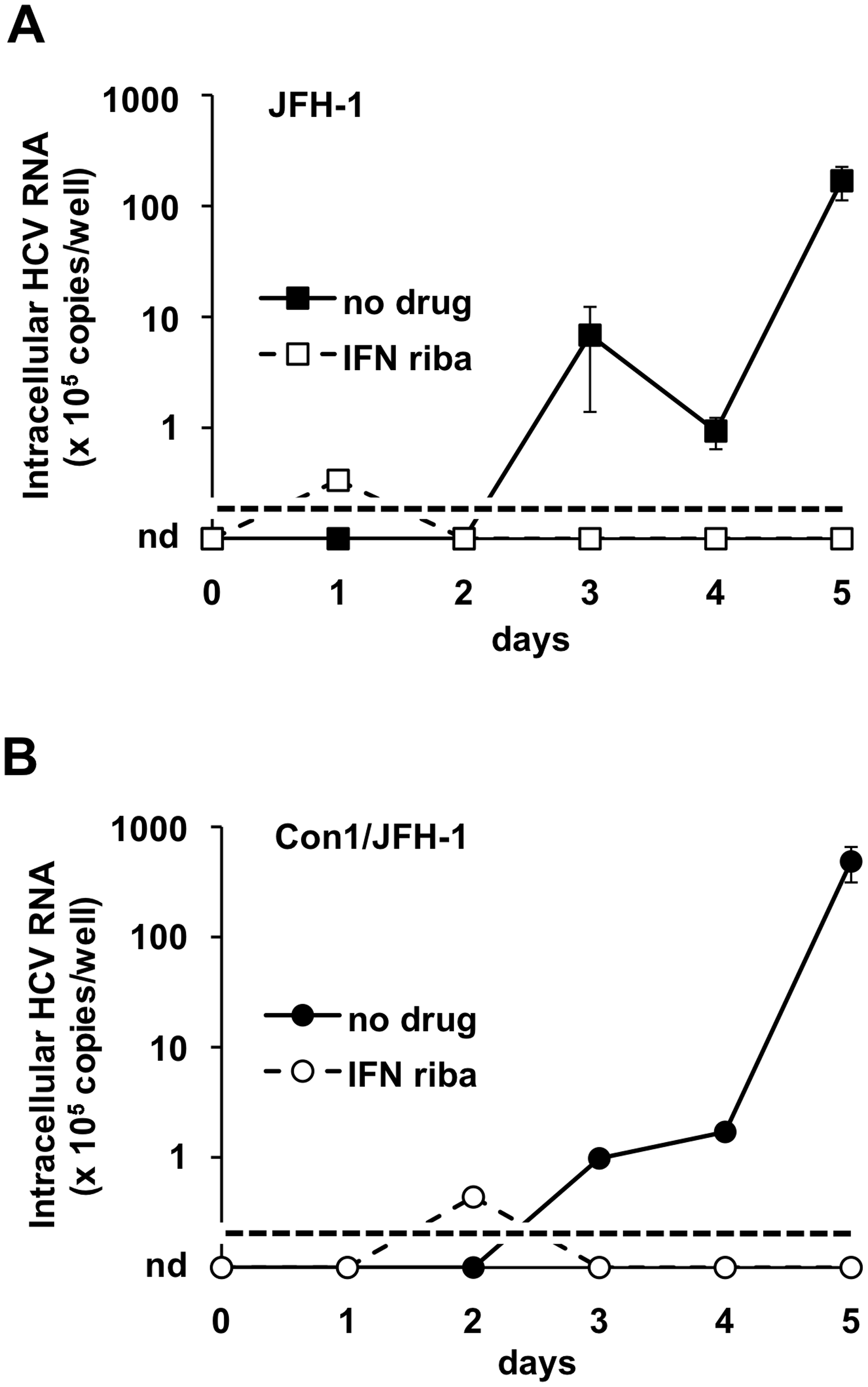 JFH-1-based HCV produced in BHK-WNV cells infect Huh-7.5 cells.