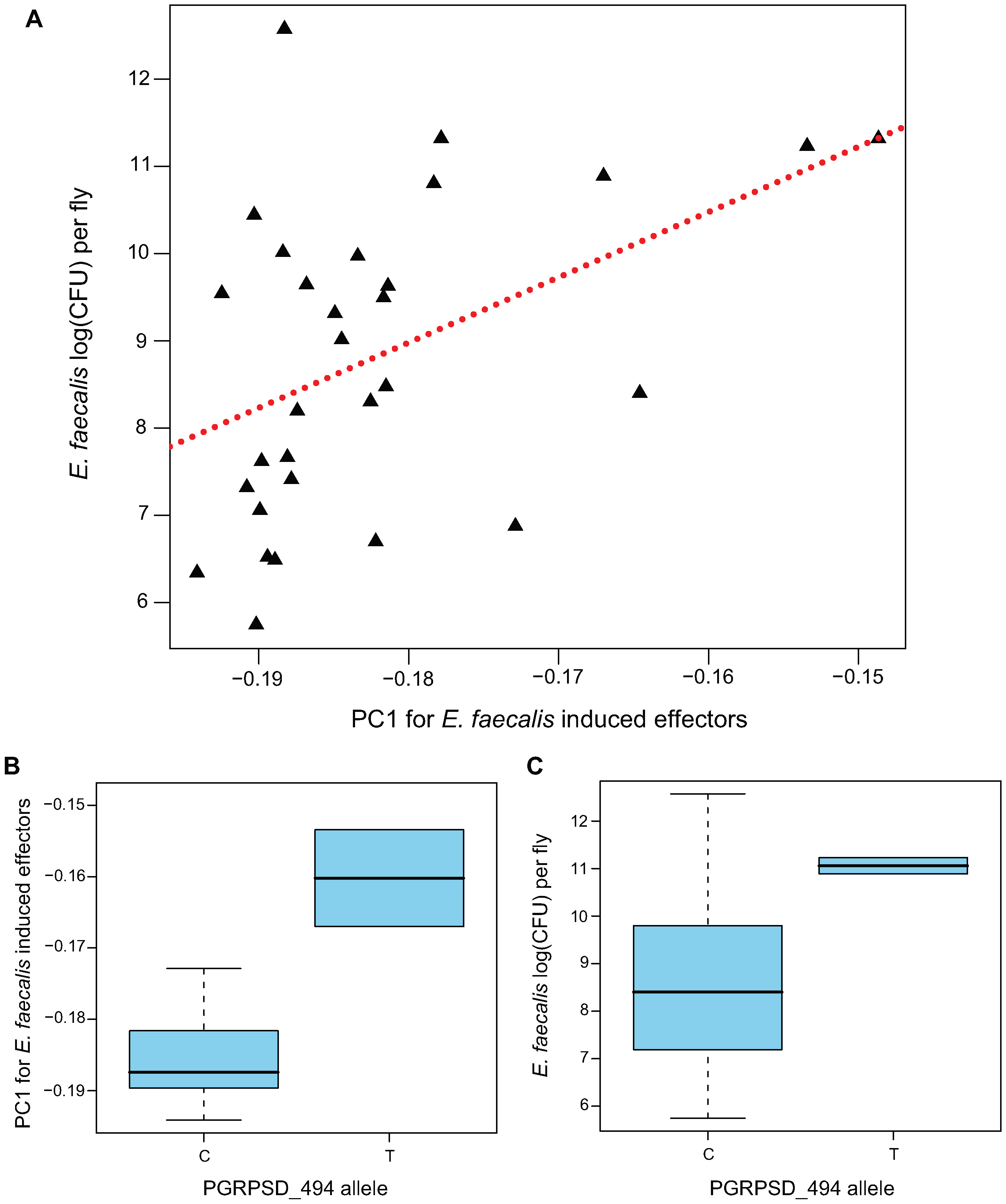 Genotype→gene expression→phenotype associations between PGRPSD_494 allele, Ef-induced expression of effectors, and <i>E. faecalis</i> bacterial load.