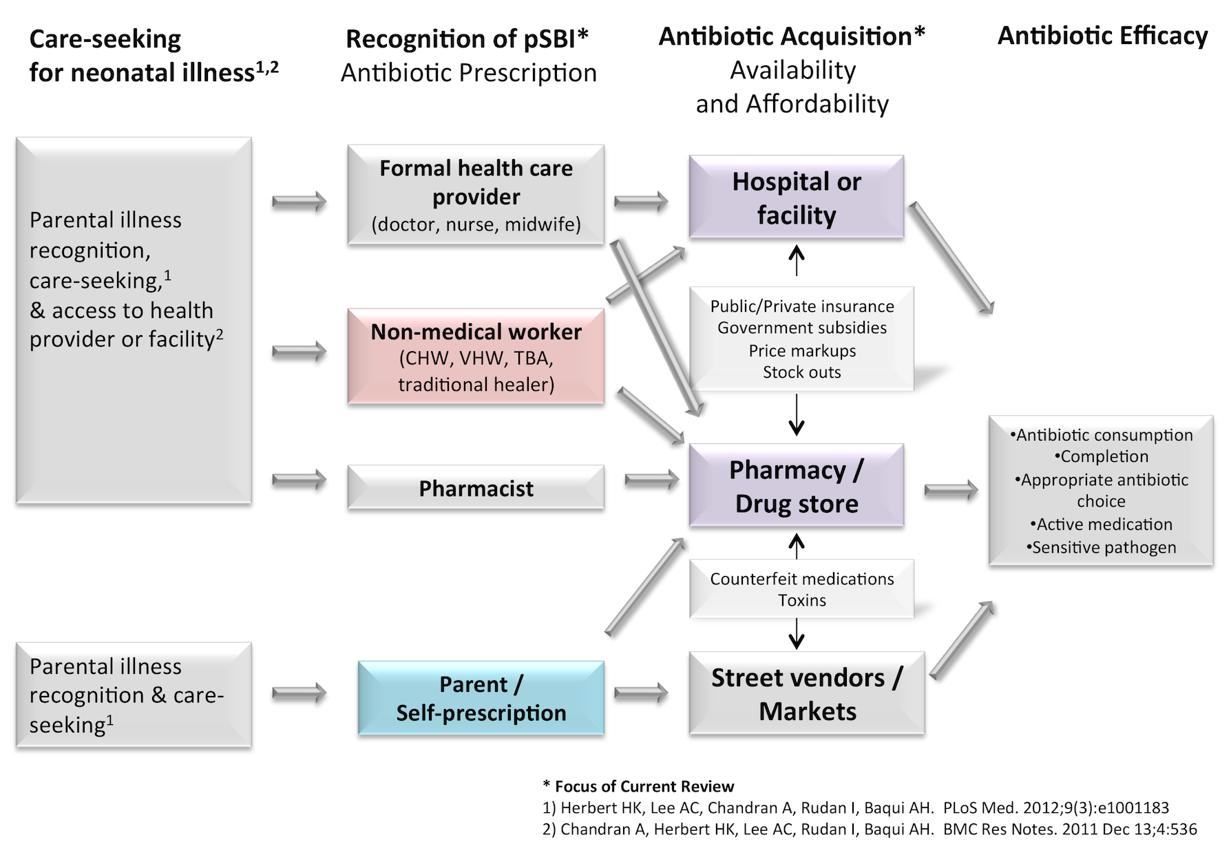 Conceptual model of access to antibiotics for newborns with infection.