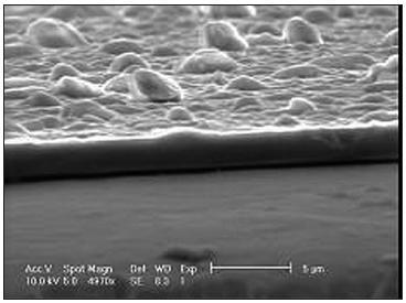 Průřez povlakem naneseným metodou PLD – SEM, převzato z [19].
