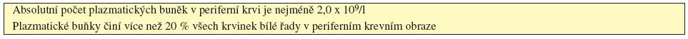 Tab. 5.5 Kritéria plazmocelulární leukemie (International Myeloma Working Group, 2003).