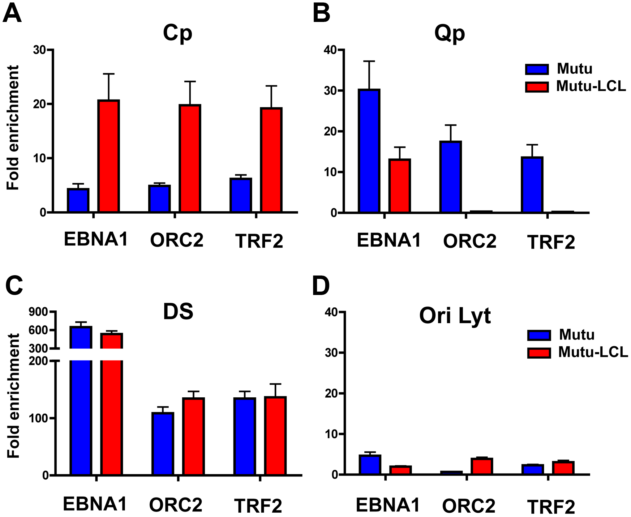 Interaction between OriP binding factors and promoters correlates with promoter activation.