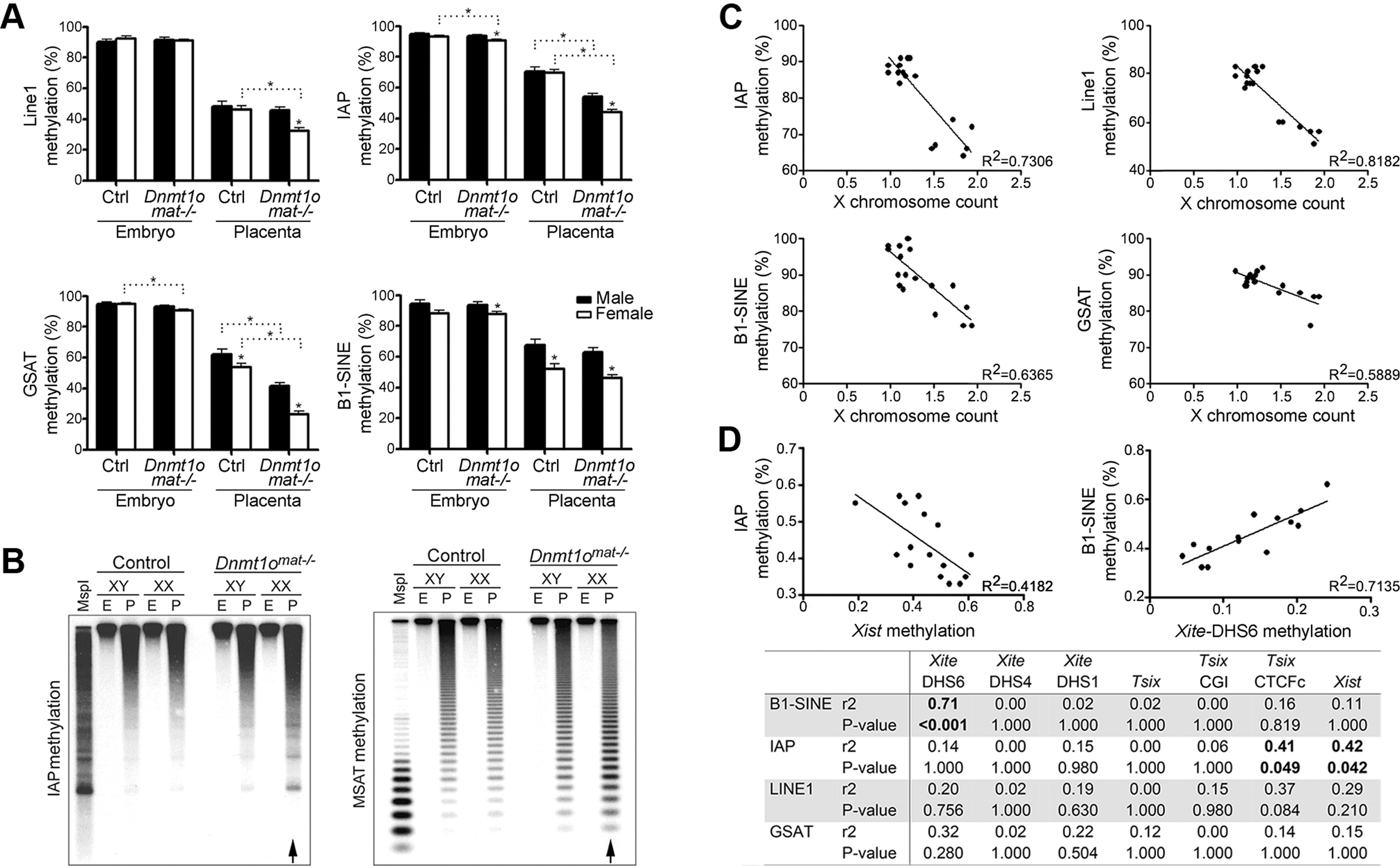 DNA methylation analysis of repeat elements in <i>Dnmt1o<sup>mat−/−</sup></i> 9.5dpc embryos and placentae, as well as in ES cells.