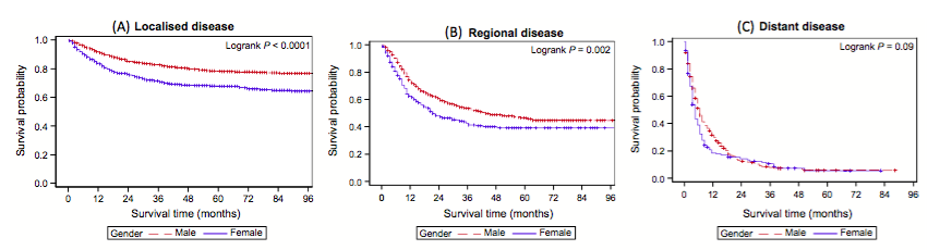 Figure 2. Kaplan–Meier disease-specific survival curves for localized (A), regional (B) and distant (C) disease by sex.3